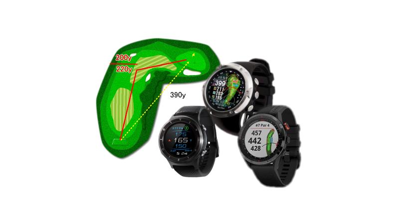 3点間距離表示ができる腕時計型GPSゴルフナビ
